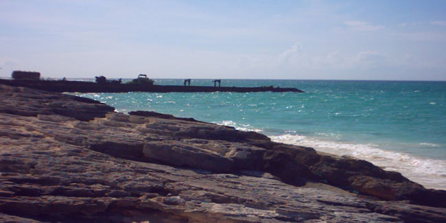 Platico Point old pier, Middle Caicos oceanfront